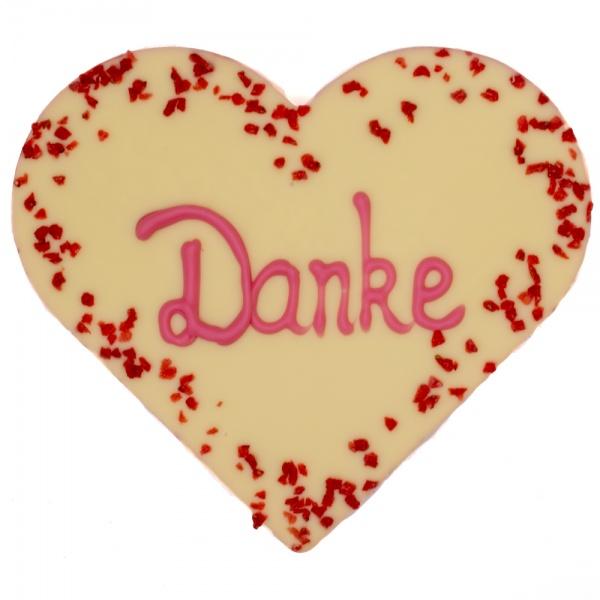 "Weißes Schokoladen-Herz ""Danke"""